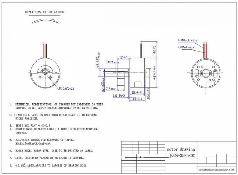 JQ24-35F580C Cylindrical Vibration Motor mechanical drawing
