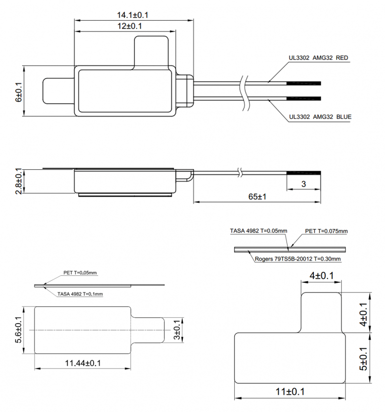 LV061228B-L65-A Linear Resonant Actuator Vibration LRA mechanical drawing