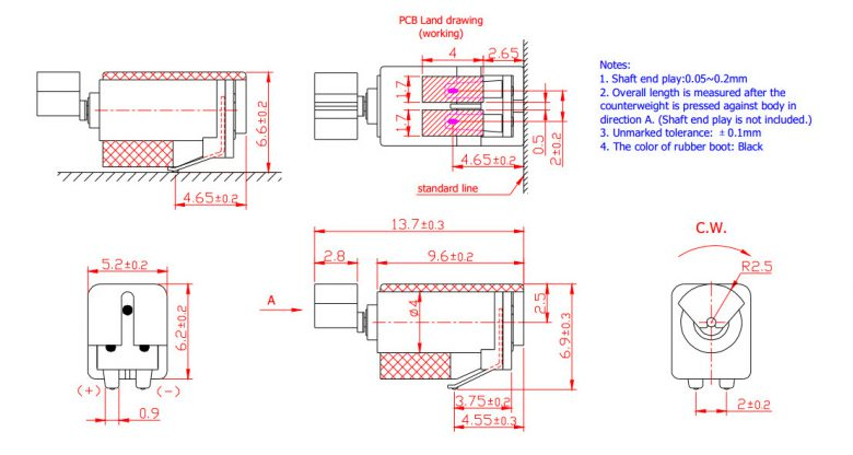 Z4TH1B0020311 Leaf Spring Contacts Surface Mount Vibration Motor mechanical drawing