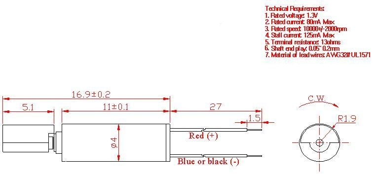 Z4KL2A0280001 Wire Leads Cylindrical Vibration Motor mechanical drawing