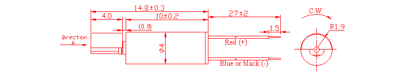 Z4SL2A0270001 Wire Leads Cylindrical Vibration Motor mechanical drawing