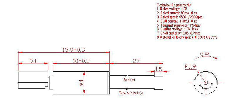 Z4SL2A0280001 Wire Leads Cylindrical Vibration Motor mechanical drawing