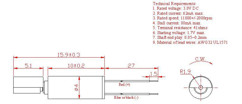 Z4SL2B0280001 Wire Leads Cylindrical Vibration Motor mechanical drawing