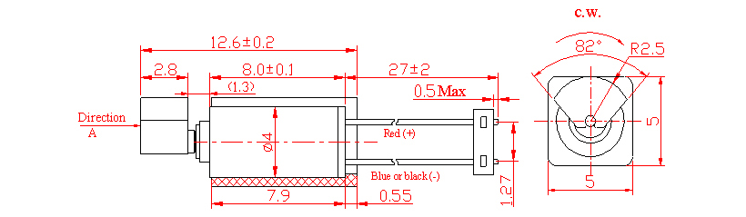 Z4TJ1B0020011 Wire Leads w. Connector Cylindrical Vibration Motor mechanical drawing