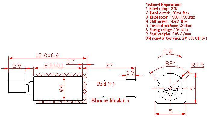 Z4TL2B0020011 Wire Leads Cylindrical Vibration Motor mechanical drawing