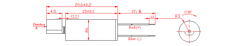 Z6CL2A0080001 Wire Leads Cylindrical Vibration Motor mechanical drawing
