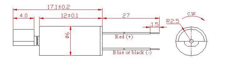 Z6DL2B0050001 Wire Leads Cylindrical Vibration Motor mechanical drawing - large