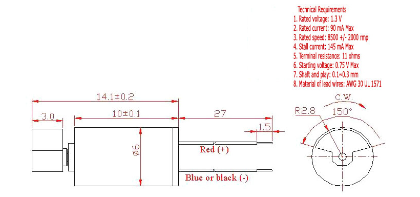 Z6SL2A0060001 Wire Leads Cylindrical Vibration Motor mechanical drawing - large