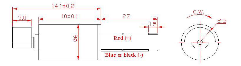 Z6SL2B0120001 Wire Leads Cylindrical Vibration Motor mechanical drawing