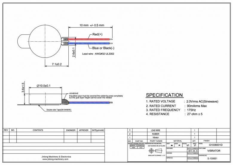G1036001D Linear Resonant Actuator LRA Coin Vibration Motor mechanical drawing