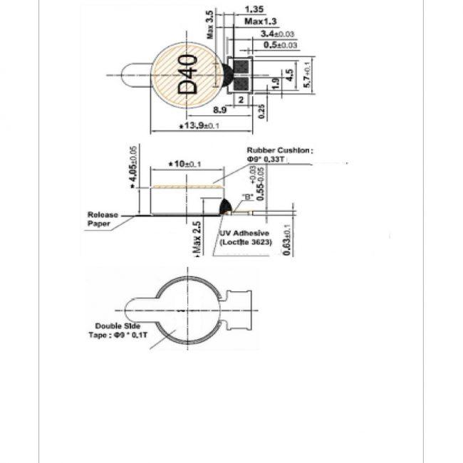 G1040003D Highest G Force Coin LRA Linear Vibration Motor Mechanical Drawing