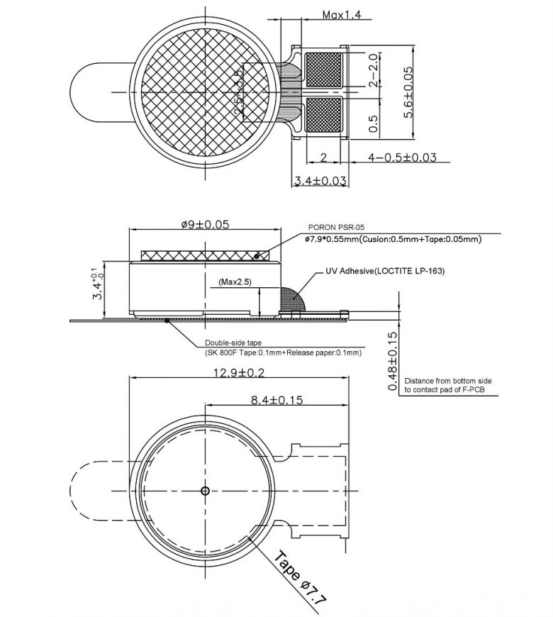 W0934AB007G BLDC Bushless Coin Vibration Motor FPC Mechanical Drawing