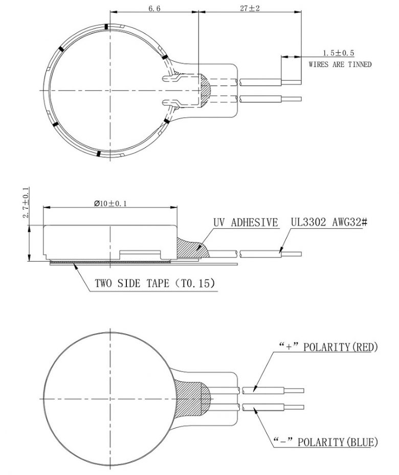 CDM1027B003L Double Magnet Coin Vibration Motor Mechanical Drawing