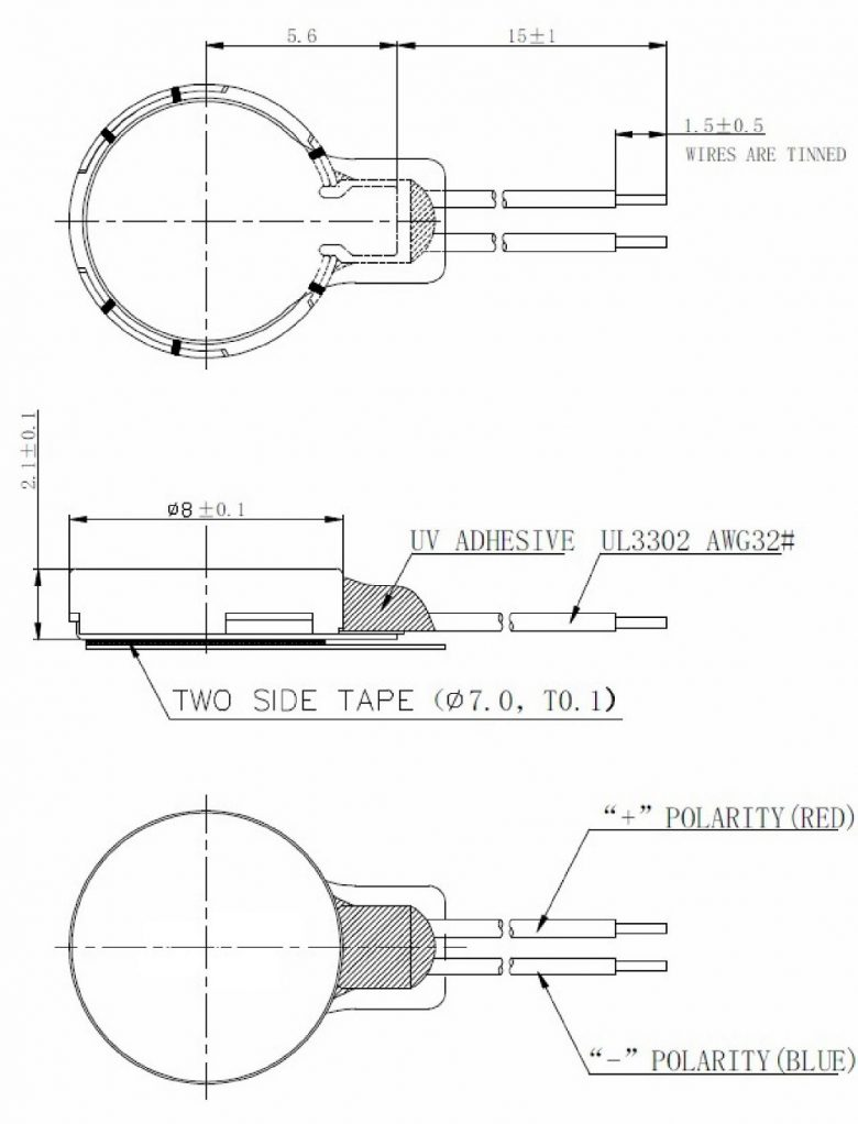 CLP0820B004L Coin Vibration Motor Mechanical Drawing
