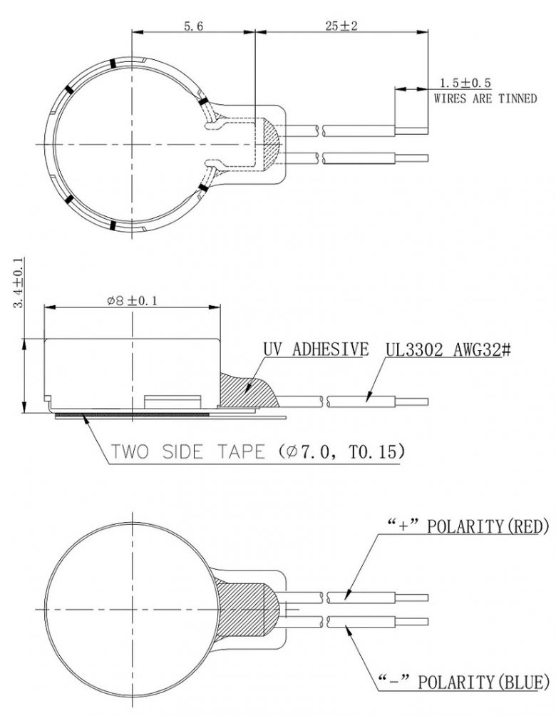 CDM0834B004L Double Magnet Coin Vibration Motor Mechanical Drawing