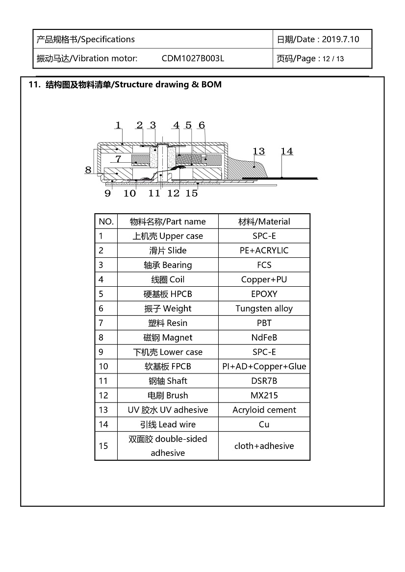CDM1027B003L Double Magnet Coin Vibration Motor 13