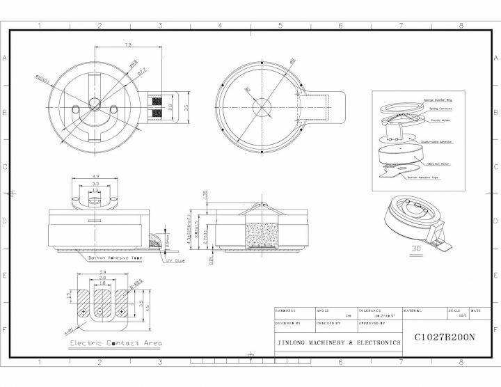 C1027B200N Spring Contacts Coin Vibration Motor - mechanical drawing