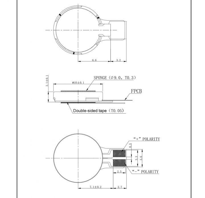 C1020B569L Thin Coin Vibration Motor - mechanical drawing