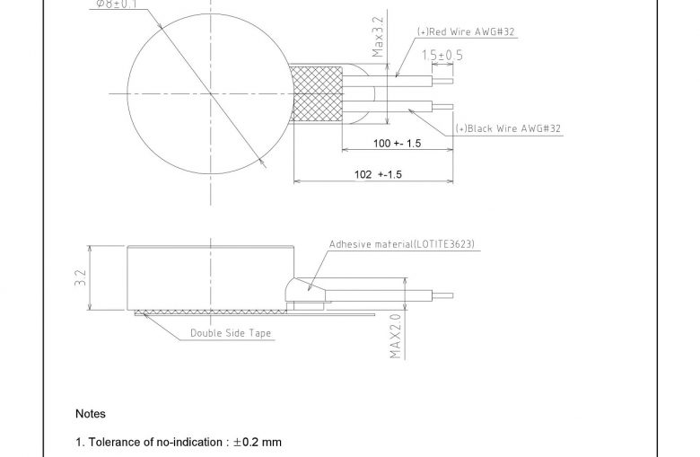G0832022D LRA Linear Vibration Coin Motor mechanical drawing