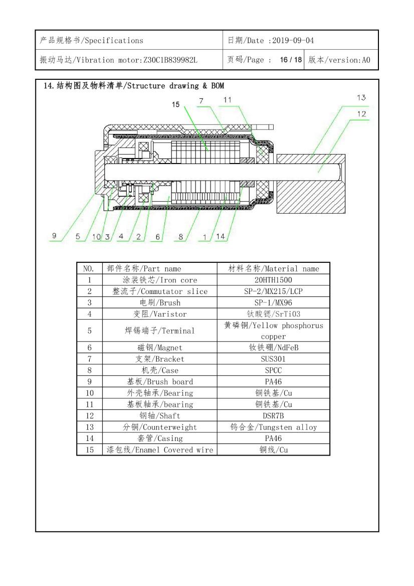 Z30C1B839982L PCB Mount Vibration Motor - SMD Reflow 16