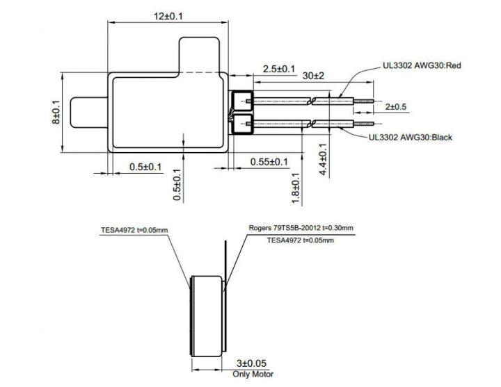 LV081230B-L30 LINEAR VIBRATION MOTOR LRA Mechanical Drawing