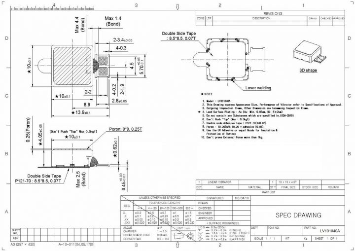 LV101040A LRA LINEAR VIBRATION MOTOR Mechanical Drawing