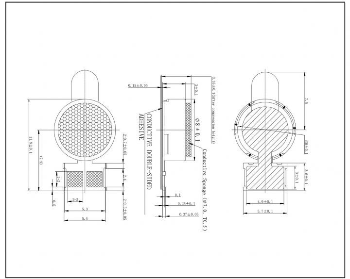 C0830B009L 3V Coin Vibration Motor Mechanical Drawing