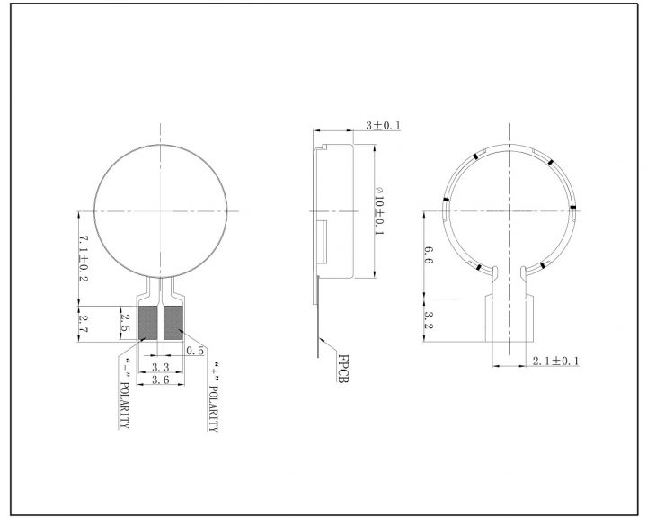 C1030B823L Coin Vibration Motor Mechanical Drawing