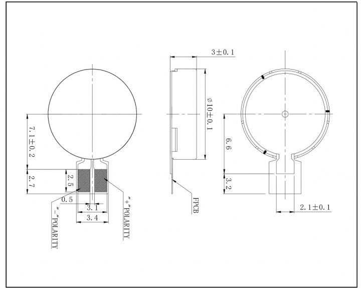 C1030B813L 3V Coin Vibration Motor Mechanical drawing