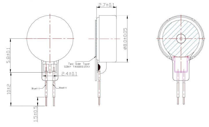 C0827B005F Coin Vibration Motor Mechanical Drawing