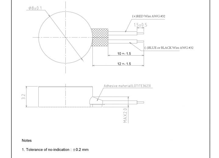 G0832012 LRA Z-Axis Linear Vibration Motor mechanical drawing