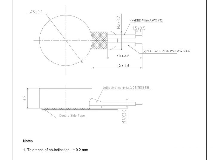 G0832013D Linear Resonant Actuator LRA Coin Vibration Motor mechanical drawing