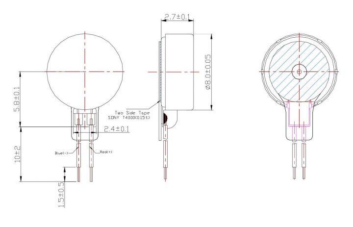 C0827B005F Coin Vibration Motor Mechanical Drawing
