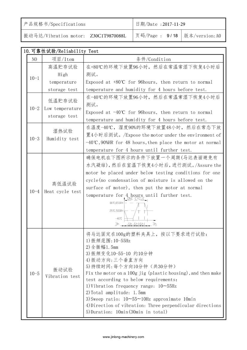 Z30C1T9870088L SMT Reflow Vibration Motor data 09