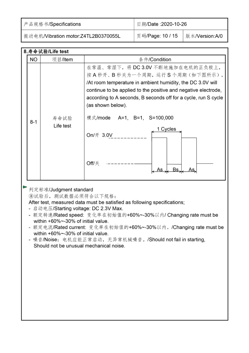 Z4TL2B0370055L Low Current Cylindrical Vibration Motor data 10