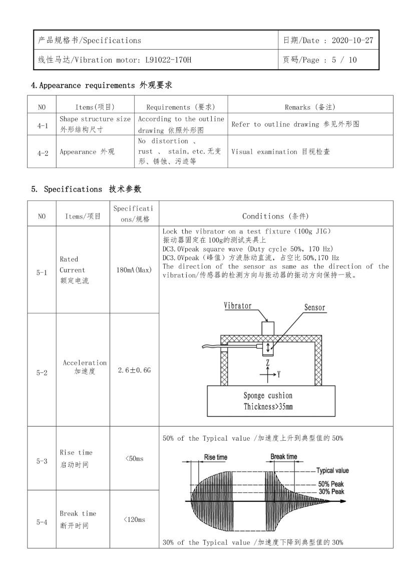 L91022-170H LRA LINEAR VIBRATION MOTOR DATA 05