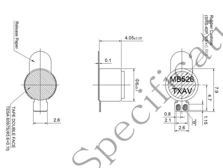 G0640001D LRA coin vibration motor mechanical drawing